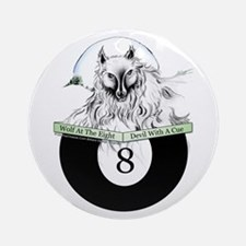 8 Ball Billiard Wolf Round Ornament