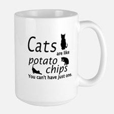CATS ARE LIKE POTATO CHIPS... Large Mug