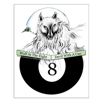 8 Ball Devil Wolf Small Poster