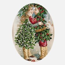 Vintage Christmas Image 3 Oval Ornament
