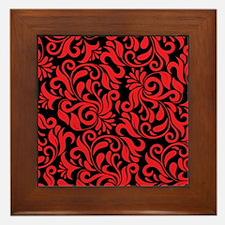 Black And Red Damask Framed Tile