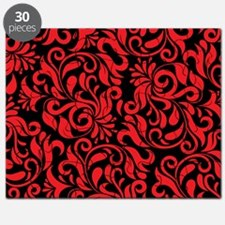 Black And Red Damask Puzzle