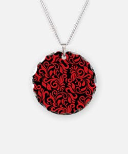 Black And Red Damask Necklace