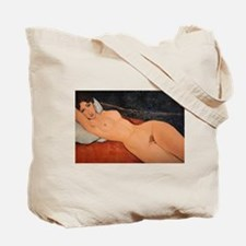 nude on a white Tote Bag