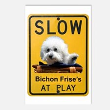 bichons at play Postcards (Package of 8)
