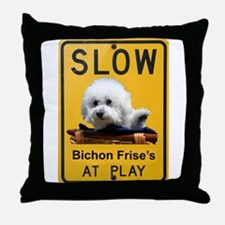 bichons at play Throw Pillow