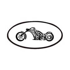 Black and White Tribal Stylized Motorcycle Patch