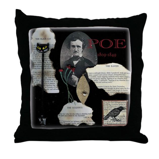 Edgar Allen Poe Throw Pillow By Albinocrow