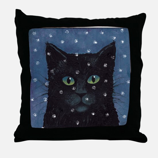 Black Cat in Falling Snow Throw Pillow