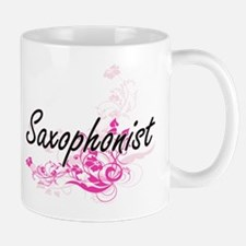 Saxophonist Artistic Job Design with Flowers Mugs