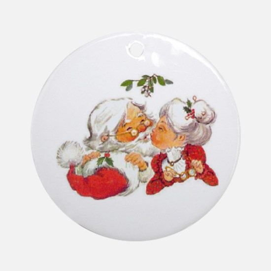 Vintage Christmas Santa Kissing Mrs Round Ornament