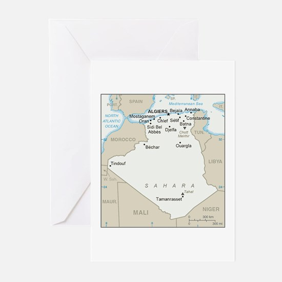 Algerian Map Greeting Cards