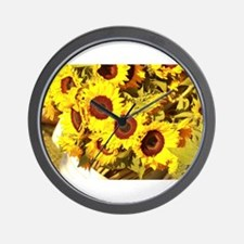 sunflowers on a warm day Wall Clock