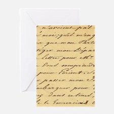 shabby chic french script Greeting Cards