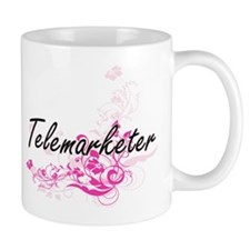 Telemarketer Artistic Job Design with Flowers Mugs