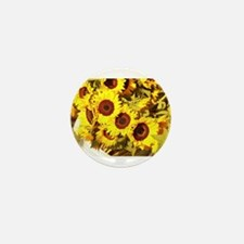 sunflowers on a warm day Mini Button