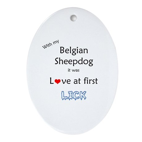 BelgianSheep Lick Oval Ornament