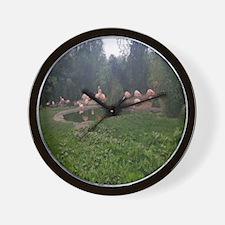 Cute Outdoor flamingo Wall Clock