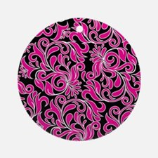 Black Pink And White Damask Round Ornament