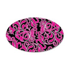 Black Pink And White Damask Wall Decal