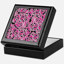 Black Pink And White Damask Keepsake Box