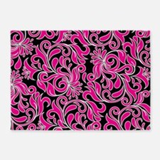 Black Pink And White Damask 5'x7'Area Rug
