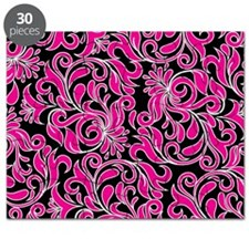 Black Pink And White Damask Puzzle
