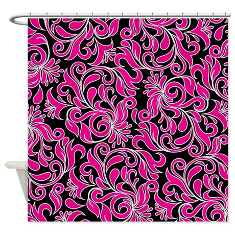 Black Pink And White Damask Shower Curtain By Beautifulbed