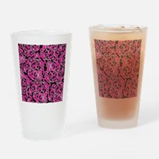 Black Pink And White Damask Drinking Glass