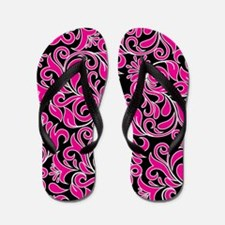 Black Pink And White Damask Flip Flops
