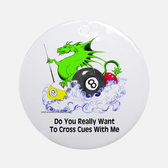 Cross Cues Pool Playing Dragon Round Ornament