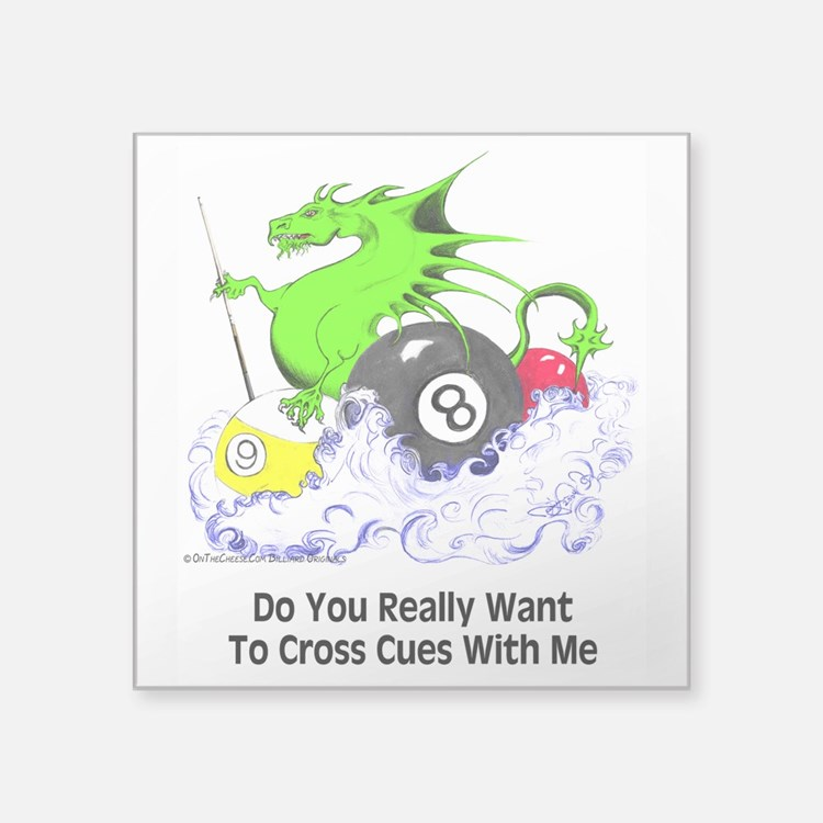 "Dragon Playing Pool Square Sticker 3"" x 3"""