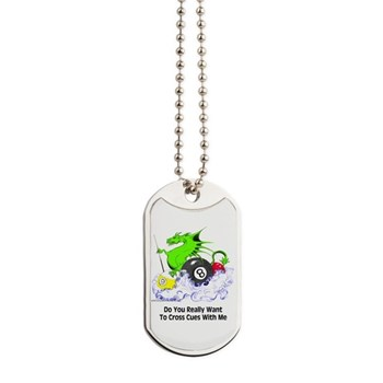 Cross Cues Pool Playing Dragon Dog Tags