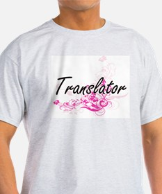 Translator Artistic Job Design with Flower T-Shirt
