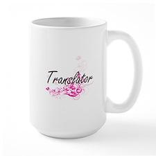 Translator Artistic Job Design with Flowers Mugs