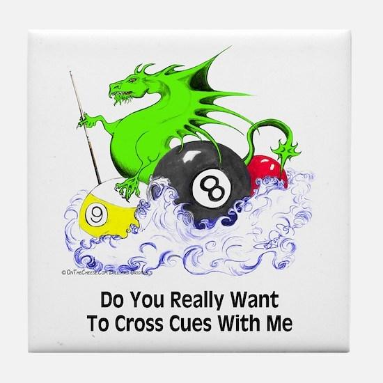 Cross Cues Pool Playing Dragon Tile Coaster