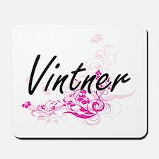 Vintner Artistic Job Design with Flowers Mousepad