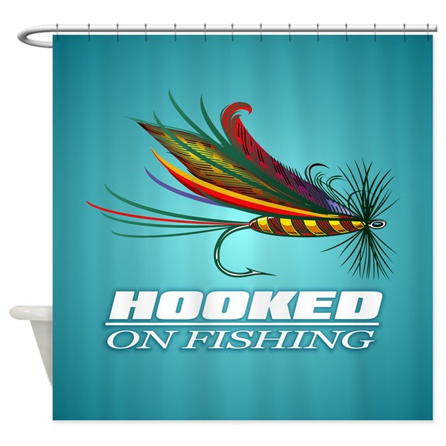 Hooked on fishing fly shower curtain by ultimateadventure for Hooked on fishing