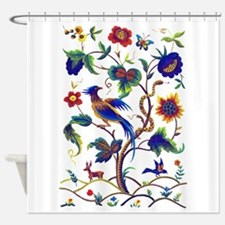 Crewel Shower Curtains Crewel Fabric Shower Curtain Liner