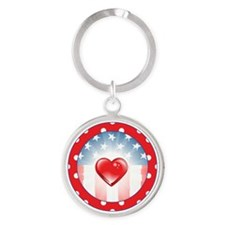 PATRIOTIC HEARTS Round Keychain