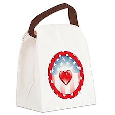 PATRIOTIC HEARTS Canvas Lunch Bag