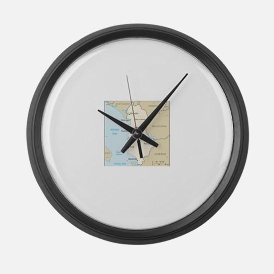 Albanian Map Large Wall Clock