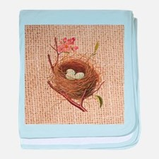 burlap modern vintage bird nest baby blanket