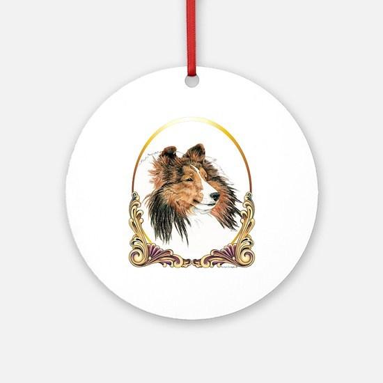 Shetland Sheepdog Sheltie Holiday Round Ornament