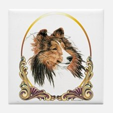 Shetland Sheepdog Sheltie Holiday Tile Coaster