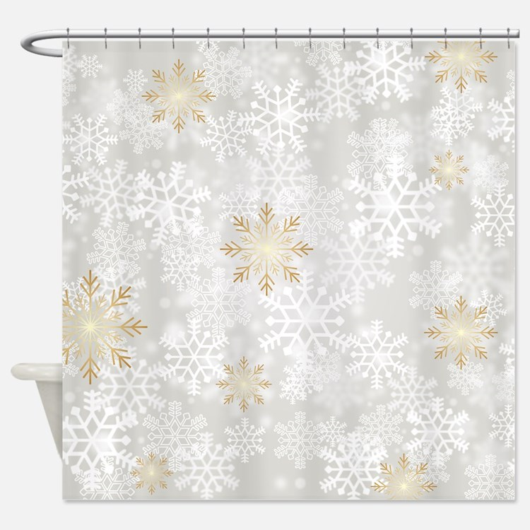 Winter snowflake shower curtains fabric