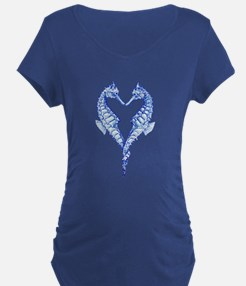 Seahorses Together Blue Maternity T-Shirt