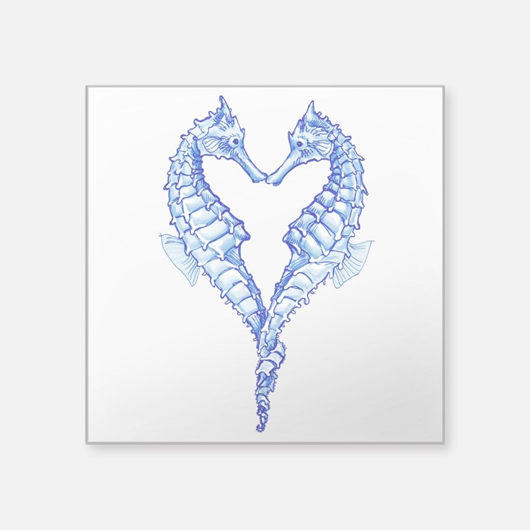 Seahorses Together Blue Sticker