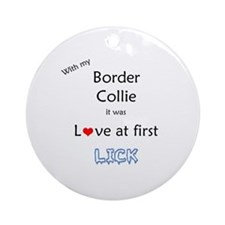 Border Collie Lick Ornament (Round)