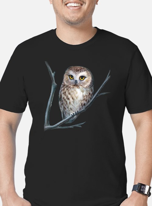 Cute Saw whet owl Men's Fitted T-Shirt (dark)